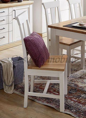 Stuhl SEESEN 45x99x45cm 2farbig Kiefer weiß lackiert Eiche geölt Esszimmerstuhl – Bild 1