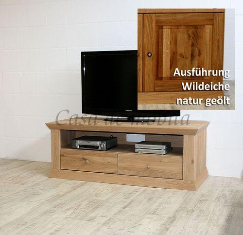 TV-Lowboard PRATO 147x54x59cm Eiche massiv Fernsehkommode – Bild 3