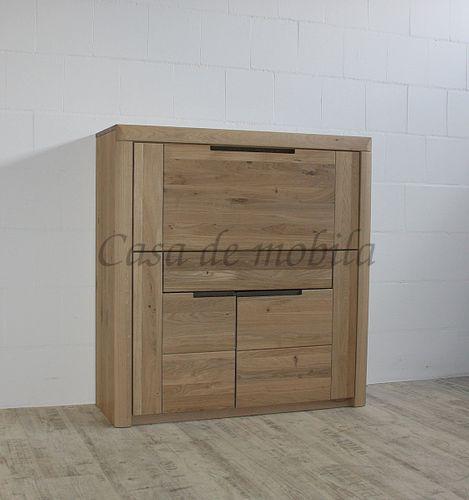 Sekretär HORIZONT 115x120x40cm Wildeiche massiv Bianco geölt – Bild 6