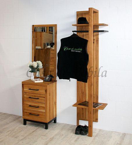 Flur-Möbel 3teilig Wildeiche massiv Vollholz rustikal Eisen Vintage – Bild 1