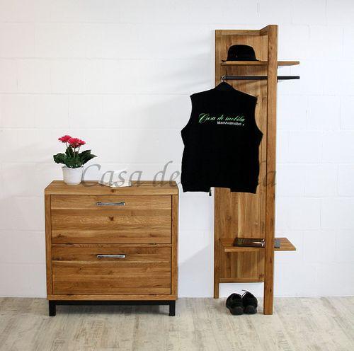 Dielen-Möbel 2teilig Wildeiche massiv Vollholz rustikal Eisen Vintage – Bild 4
