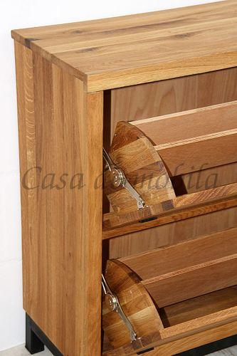 Dielen-Möbel 2teilig Wildeiche massiv Vollholz rustikal Eisen Vintage – Bild 12