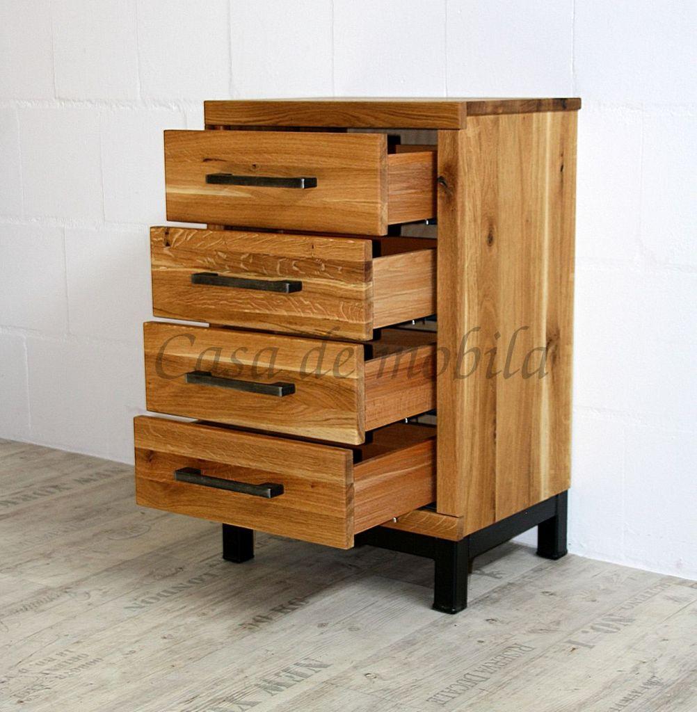 Flur-Möbel 2teilig Wildeiche massiv Vollholz rustikal Eisen Vintage – Bild 8