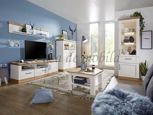 TV-Lowboard SEESEN 180x55x43cm 2farbig Kiefer weiß lackiert Eiche geölt Phonomöbel – Bild 5