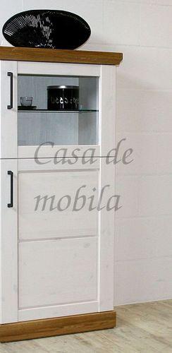 Wohnwand SEESEN 380x209x43cm 2farbig Kiefer weiß lackiert Eiche geölt Schrankwand – Bild 5