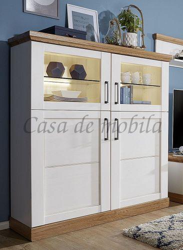 Wohnwand SEESEN 315x144x43cm 2farbig Kiefer weiß lackiert Eiche geölt Anbauwand – Bild 2