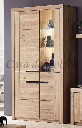 Vitrine HORIZONT 115x203x40cm Highboard Wildeiche massiv Bianco geölt Glastür rechts – Bild 1