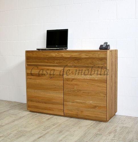 Sideboard NYON 2türig rustikale Asteiche natur geölt Kommode 120x88x42cm – Bild 1