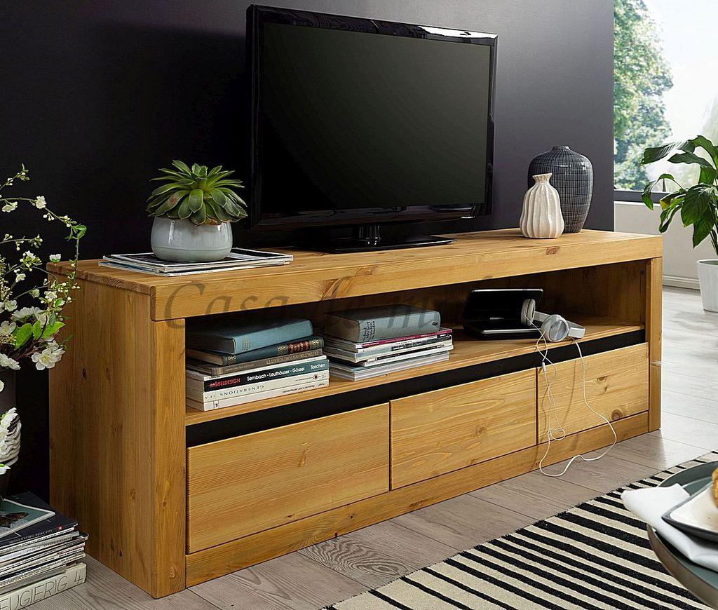 Massivholz Tv Lowboard 160x55x42cm Kiefer Gelaugt Geolt Fernseh