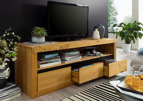 TV-Lowboard CELLE 160x55x42cm Kiefer eichefarben gebeizt geölt Fernsehkommode – Bild 3