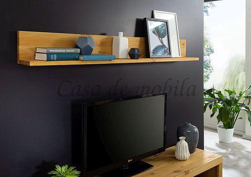 Wandboard CELLE 160x19x17cm Kiefer eichefarben gebeizt geölt Wandregal – Bild 1