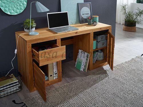 Schreibtisch CELLE 155x75x50cm Kiefer eichefarben gebeizt geölt Bürotisch – Bild 3