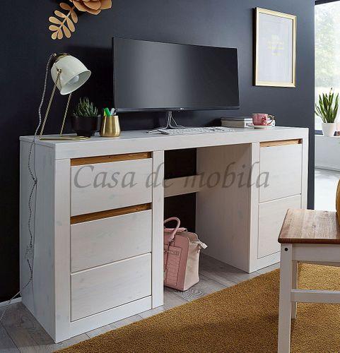 Schreibtisch CELLE 155x75x50cm Kiefer weiß gebeizt lackiert eichefarben Bürotisch – Bild 1