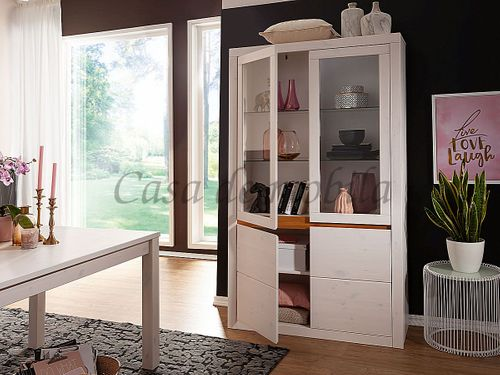 Esszimmer CELLE komplett 7teilig Kiefer weiß gebeizt lackiert – Bild 3