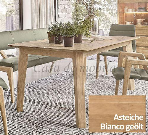 4-Fuß-Ausziehtisch NYON rustikale Asteiche Bianco geölt Esstisch – Bild 1