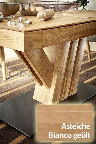 Säulen-Ausziehtisch NYON rustikale Asteiche Bianco geölt Esstisch Granit – Bild 6