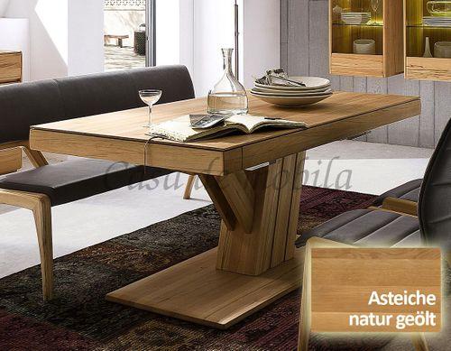 Säulen-Ausziehtisch NYON rustikale Asteiche natur geölt Esstisch – Bild 1