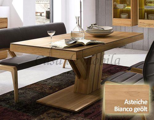 Säulen-Ausziehtisch NYON rustikale Asteiche Bianco geölt Esstisch – Bild 1