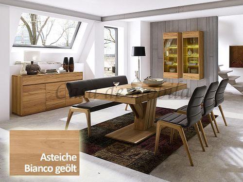 Säulen-Ausziehtisch NYON rustikale Asteiche Bianco geölt Esstisch – Bild 2