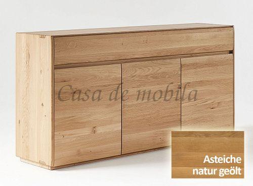 Sideboard NYON 3türig rustikale Asteiche natur geölt Kommode 178x88x42cm – Bild 1
