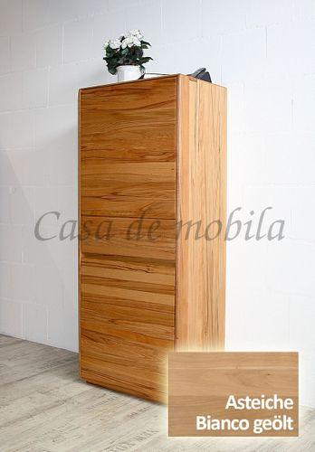 Highboard NYON 62x151x42cm rustikale Asteiche Bianco geölt Wohnzimmerschrank – Bild 1