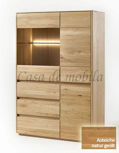 Highboard NYON 100x151x42cm rustikale Asteiche natur geölt Esszimmerschrank – Bild 2