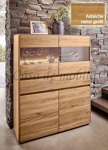 Highboard NYON 120x151x42cm rustikale Asteiche natur geölt Wohnzimmerschrank – Bild 1