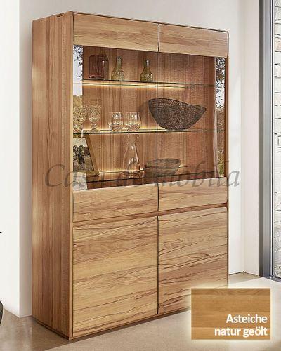 Vitrine NYON 120x191x42cm rustikale Asteiche natur geölt Wohnzimmerschrank – Bild 1