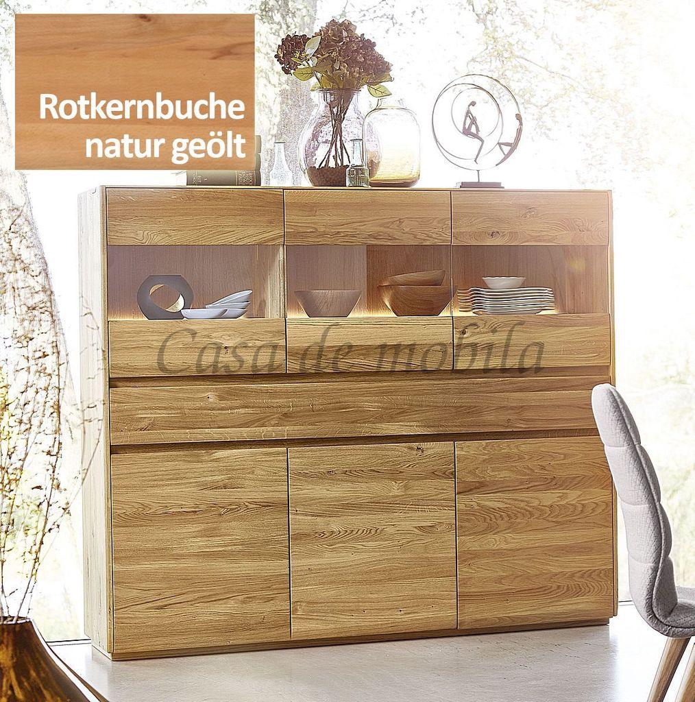 Highboard NYON 178x151x42cm Rotkernbuche natur geölt Wohnzimmerschrank