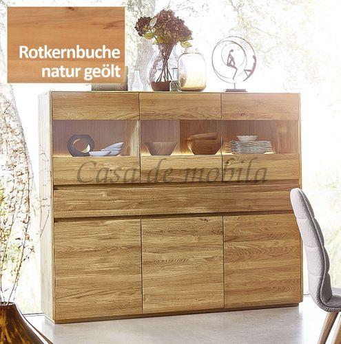 Highboard NYON 178x151x42cm Rotkernbuche natur geölt Wohnzimmerschrank – Bild 1
