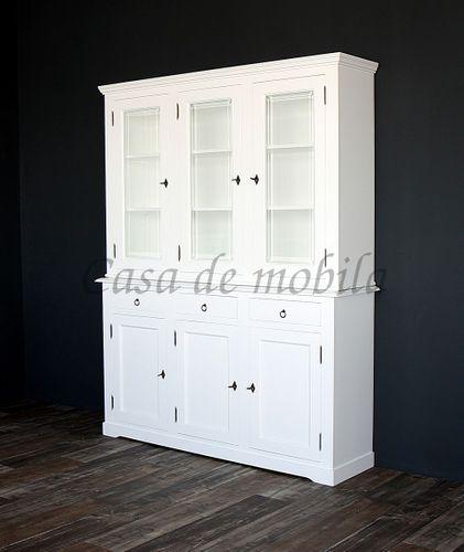Buffetschrank DECOR 160x207x43cm Massivholz weiß lackiert Büffet – Bild 1