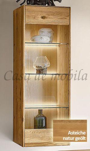 Hängevitrine NYON 51x145x36cm rustikale Asteiche natur geölt Hängeschrank – Bild 2
