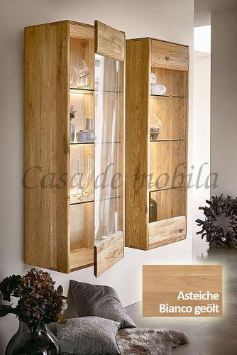 Hängevitrine NYON 51x145x36cm rustikale Asteiche Bianco geölt Hängeschrank – Bild 1