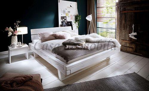 Doppelbett UNIKAT 180x200 Fichte weiß Balkenbett nordisches Massivholz rustikal – Bild 2