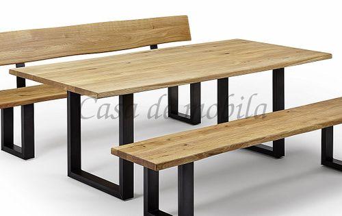Baumtisch 180x100 Wildeiche massiv Esstisch Baumkante Vollholz Eisen-Gestell Eiche geölt – Bild 1