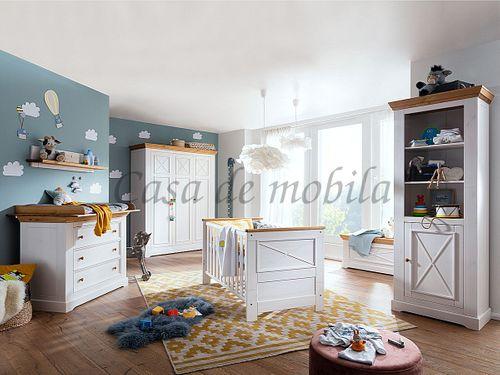 Babyzimmer FLAIR 8teilig Kiefer Kinderzimmer massiv Landhaus weiß eichefarben – Bild 1