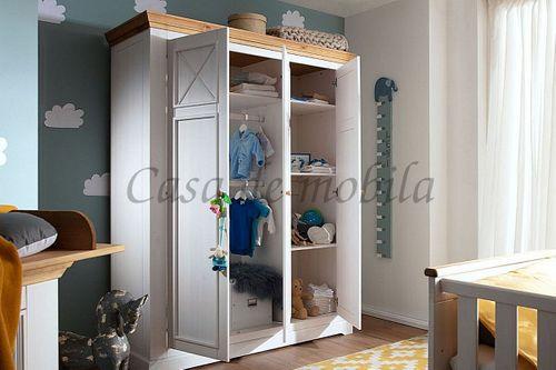 Babyzimmer FLAIR 8teilig Kiefer Kinderzimmer massiv Landhaus weiß eichefarben – Bild 6