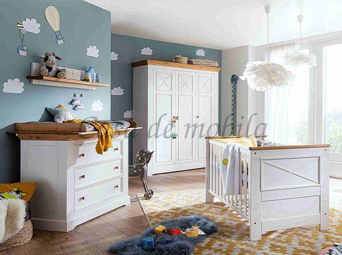 Babyzimmer FLAIR 6teilig Kiefer Kinderzimmer massiv Landhaus weiß eichefarben – Bild 1