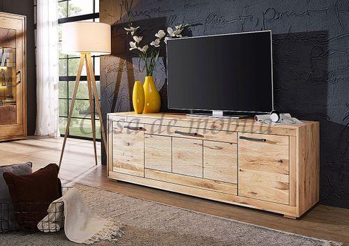 TV-Kommode 2türig Wildeiche massiv geölt TV-Lowboard sandgestrahlt – Bild 1