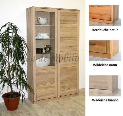 Vitrine PALERMO 102x204x40cm Wildeiche Vitrinenschrank geölt Glastür links – Bild 1
