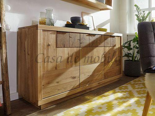 Sideboard RUSTIC 170x84x44cm 3türig Wildeiche massiv geölt Hirnholz Kommode – Bild 1