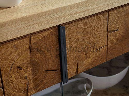 Sideboard RUSTIC 223x84x44cm 4türig Wildeiche massiv geölt Hirnholz Anrichte – Bild 5
