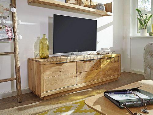 TV-Lowboard RUSTIC 170x51x44cm 3türig Wildeiche massiv geölt Hirnholz Fernsehkommode – Bild 1