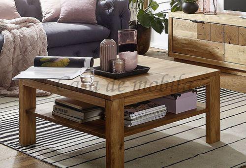 Couchtisch RUSTIC 90x45x90cm Wildeiche massiv geölt Wohnzimmertisch mit Holzfüßen – Bild 1