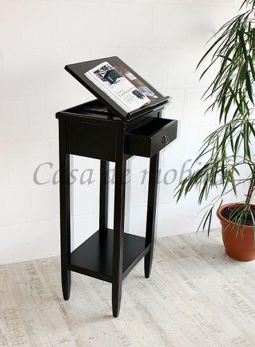 Rednerpult schwarz Stehpult Vintage Lesepult Massivholz 127 cm  – Bild 2
