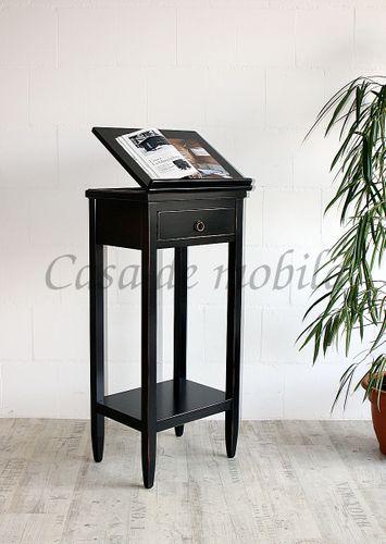 Rednerpult schwarz Stehpult Vintage Lesepult Massivholz 127 cm Pappel schwarz antik lackiert