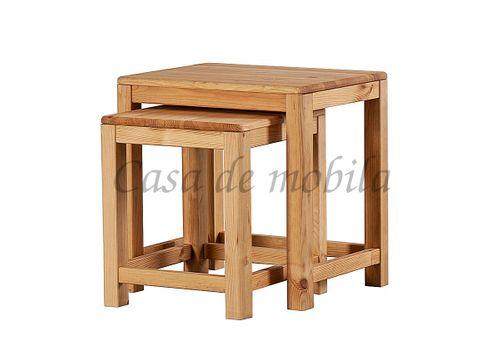 Beistelltisch 2er Set Vollholz Zweisatztisch Tischset Kiefer massiv eichefarben – Bild 1