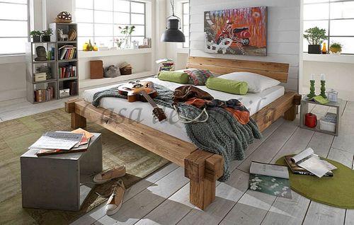 Massivholz Balkenbett Doppelbett Wildeiche geölt – Bild 4