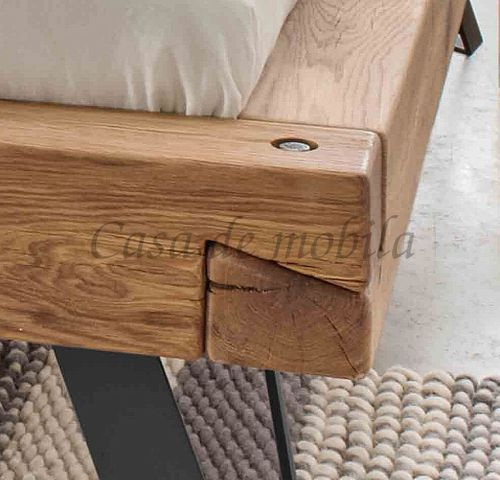 Massivholz Balkenbett Doppelbett Wildeiche geölt – Bild 2