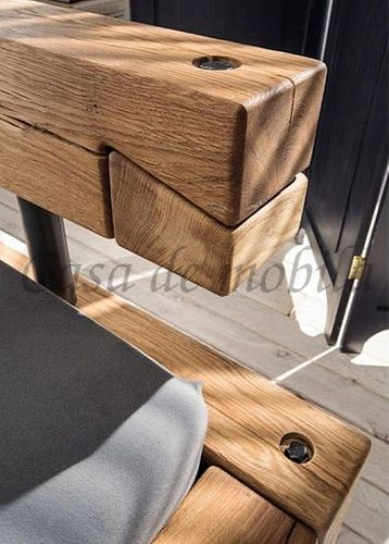 Massivholz Balkenbett Doppelbett Wildeiche geölt – Bild 3
